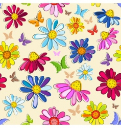 effortless pink floral pattern vector image