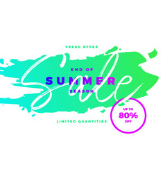 End of summer season sale banner with tropic vector