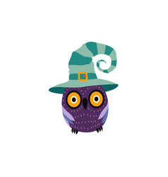 Flat halloween owl in witch hat vector