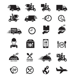 food delivery icons vector image