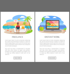 Freelance and distant work as modern jobs promo vector