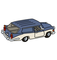 funny old blue and white station wagon vector image