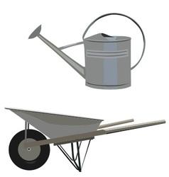Garden set with wheelbarrow and ewer vector