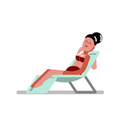 Girl chilling in chaise-longue vector