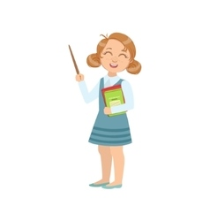 Girl Dressed As Teacher With Books And Stick vector