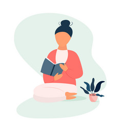girl sitting and reading a book learning process vector image