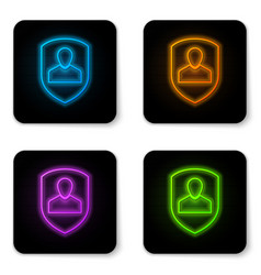 glowing neon user protection icon isolated on vector image