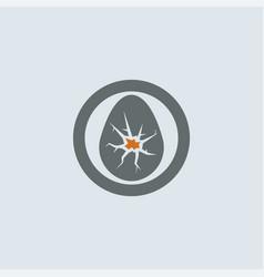 gray orange cracked eggshell round icon vector image