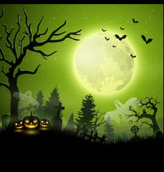 halloween night with pumpkins and ghost vector image