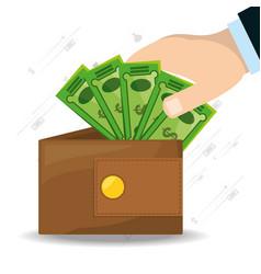 Hands depositing a lot of bills in the wallet vector