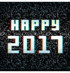 Happy 2017 technology greeting card on noisy TV vector