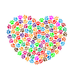 Heart of colorful paw prints concept vector