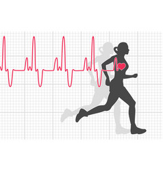 heartbeat electrocardiogram and running woman vector image
