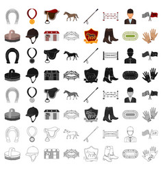 Hippodrome and horse set icons in cartoon style vector