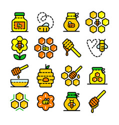 honey outline icons set vector image