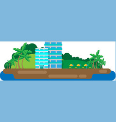 hotel on the island vector image