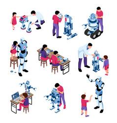kids robotics isometric icons vector image