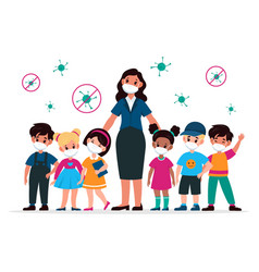 kids with teacher with masks pedagogue and vector image