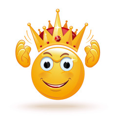 King emoticon wears a crown vector