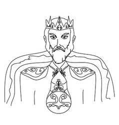 King on a white background hand drawn vector