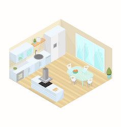 kitchen dining room studio isometric vector image