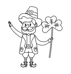 leprechaun with clover vector image