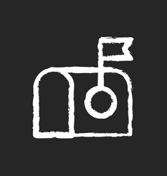 mail chalk white icon on black background vector image