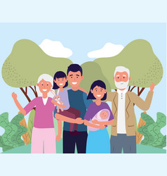 Man and woman with their baby and daughter vector