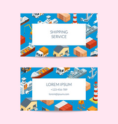 Marine logistics company business card set vector