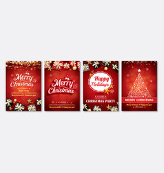 merry christmas party glass ball and gift box for vector image