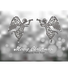 Merry Christmas silver background with angels vector