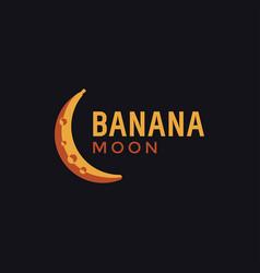 minimalist banana moon logo icon vector image