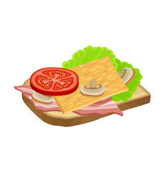 Open sandwich with vegetables and sliced bacon vector