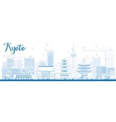 Outline Kyoto Skyline with Blue Landmarks vector