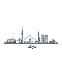 outline tokyo banner vector image