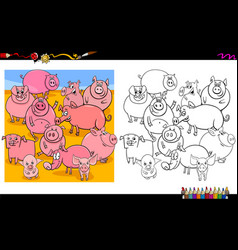 pig characters group coloring book vector image