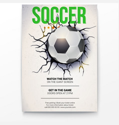 Poster with soccer ball on the background of a vector