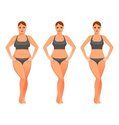 Pretty woman before and after diet vector