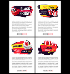 price tags on black friday sale store cart gifts vector image