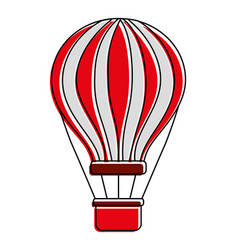 Red and white airballoon with basket recreation vector