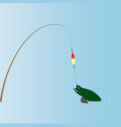 rod pulling the fish vector image