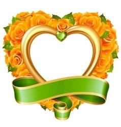 rose frame in shape heart vector image