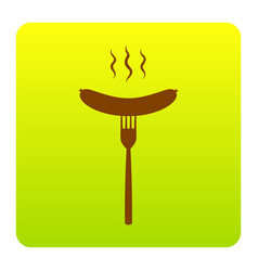 sausage on fork sign brown icon at green vector image