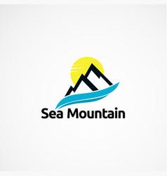 Sea mountain logo concept designs icon element vector
