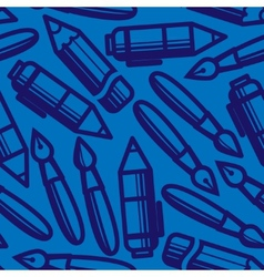 seamless pattern with drawing and writing tools vector image