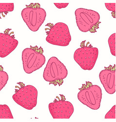 seamless pattern with hand drawn strawberry flavor vector image