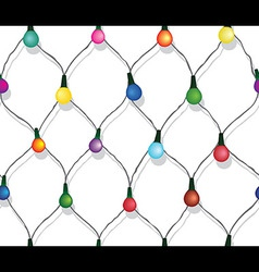 Seamless string of Christmas lights vector image
