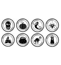 Set halloween stamp postal icon pumpkin cauldron vector