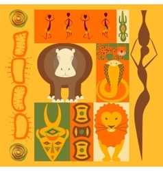 set of African animals elements vector image