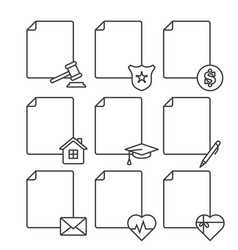 set of blank documents icons for various services vector image